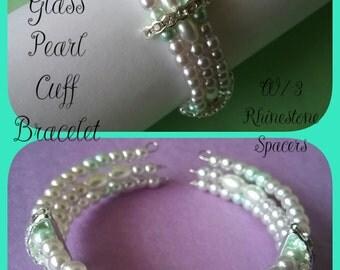 Glass Pearl Cuff Bracelet