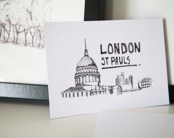 St Pauls, London // A6 Postcard // London Illustration // Architecture Drawing // St Pauls Illustration // Black and White Illustration