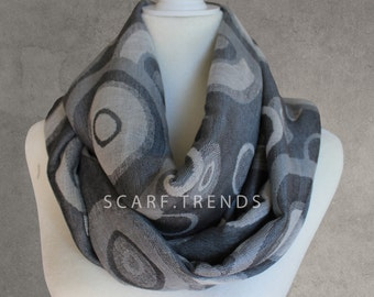 Circle Infinity Scarf, Grey Scarf, Fashion Scarf, Loop Scarf, Summer/Winter Scarf, Circle Pattern Scarf, Trendy Scarf, Gray Infinity Scarf