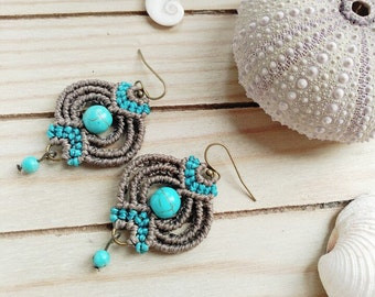 Gray macrame with turquoise earrings