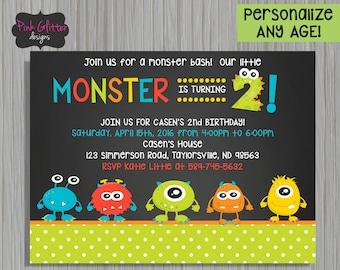 Monster Invite, Monster Invitation, Monster Second Birthday, Monster Third Birthday, Monster Birthday, Monster Any Age, DIGITAL FILE