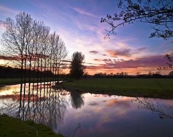 Sunset on the River Avon Little Somerford UK Framed and Mounted Print