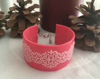 Lace pink polymer clay bracelet