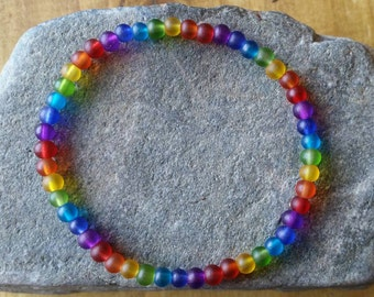 Rainbow bracelet, stretch bracelet, bead bracelet, rainbow jewellery