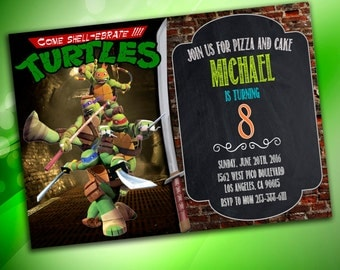 TMNT,  Teenage Mutant Ninja Turtles Invitation, Ninja Turtles birthday