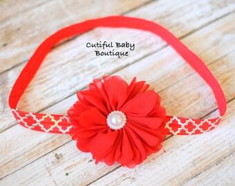 Red Ballerina Fold Over Elastic Headband, Fabric Headband, Baby Headband