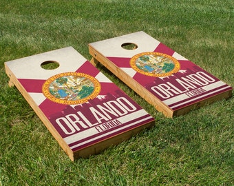 Orlando State Flag Skyline Cornhole Board Set