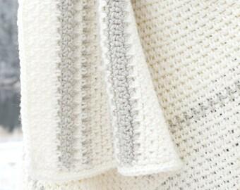 Crochet Afghan Pattern, Wool Blanket Pattern, Winter Blanket Pattern, Easy Crochet Blanket Pattern, Crocheted Afghan, White Afghan, Grey