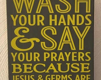 Wash Your Hands Sign - Yellow on Grey