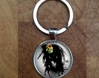 Bob Marley Reggae Music Glass Dome Round Cabochon Keyring Keychain Gift UK