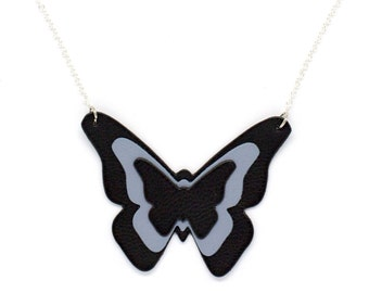 """Necklace leather Butterfly """"virevolteuse"""" blue bicolor handmade"""