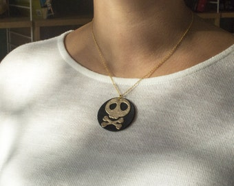 """Handmade necklace leather """"The pirate"""" gold and black"""