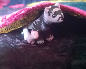 Polymer Clay Totem Talisman Animal Figures Ferret and Kit Pair!