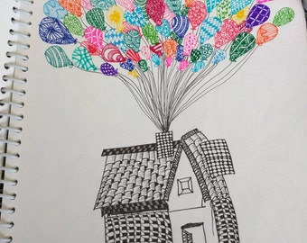 Sketch inspired by the movie 'UP' (zentangle art)