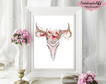Bull Skull Wall Decor bull skull wall art | etsy