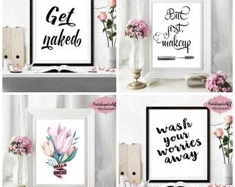 Bathroom Prints, Set Of 4 Prints, Bathroom Printable Art, Bathroom Printable, Printable Art Set, Printable Quotes For Bathroom, Bathroom Art