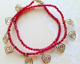 Scarlet and Gold Geometric Spiral Wrap Bracelet
