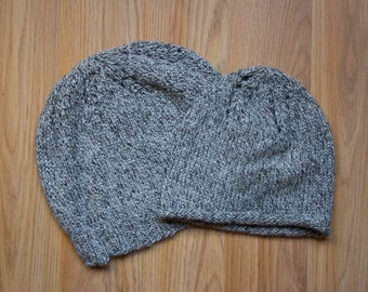 Kids' SOFT Alpaca Hat, Warm Handknit Toddler Cap, Extra SOFT Grey Alpaca Undyed Wool for Sensitive Skin, All Natural, Made in USA