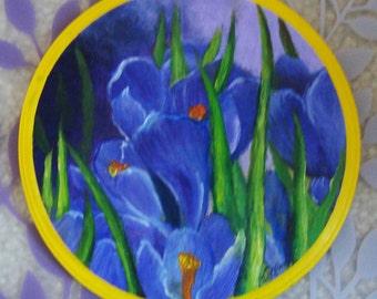Purple Gladiolus Wood Painting (original) FREE SHIPPING