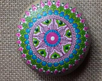 Mandala in painted sea stone.