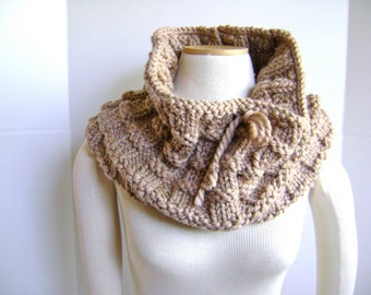 SAMPLE SALE - Hand Knit Cowl Scarf in Black