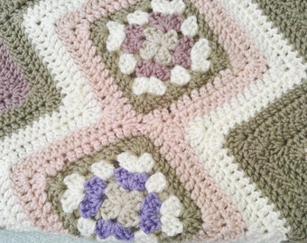 Crochet Baby Blanket  - Cradle or Pram Size - Wool Blend  - Luxury Heritage