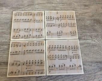Ceramic tile coasters- Sheet Music