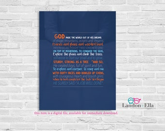 God Made Little Boys - Orange/Navy - Digital file for download