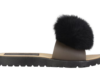Black Pom Pom Sliders