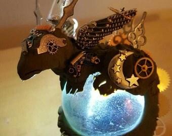 Steampunk dragon on crystal ball