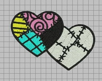 Jack and Sally Patchwork Hearts Full Stitch Machine Embroidery Design - Nightmare Before Christmas Love
