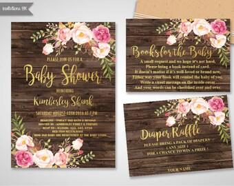 Baby Shower Invitation Girl, Baby Shower Invitation,Gold Foil Baby Shower Invite,Printable baby shower invite,Girl and boy baby shower set
