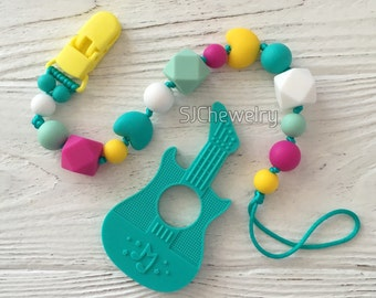 Silicone Guitar Teether with a pacifier clip