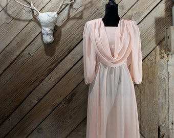 Pretty in pink:  Whimsical pink sheer dress, costume fairy dress with cowl neck , cowl neck pink dress
