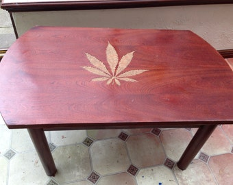 Leaf hand carved smokers table