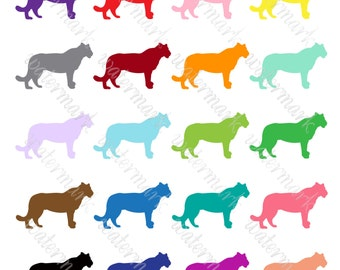 Bright silhouettes puma digital clipart, Panther clip art, Safari Cougar PNG. Instant Download for Scrapbooking
