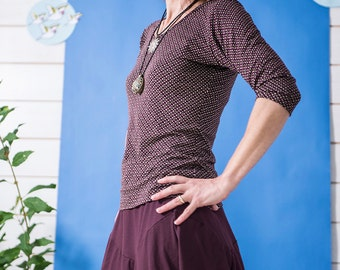 "3/4 Sleeve Top shirt ""Light as a feather"" bordeaux"