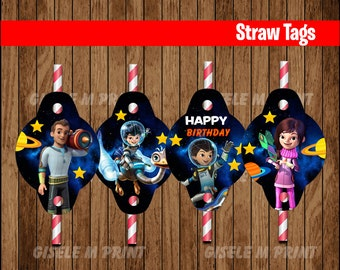 Miles from Tomorrowland Straw Tags, Printable Miles from Tomorrowland Straw toppers, Miles from Tomorrowland party Straw instant download