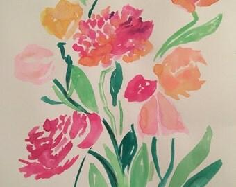 Watercolor flowers 8x10