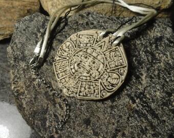 MAYAN CALENDAR Porcelain Pendant, Mayan Necklace, Maya Ceramic Pendant, Pottery Jewelry, Mayan Symbol, Mayan Amulet, Mayan Porcelain  # 120