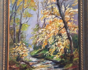 Oil painting, oil on canvas landscape with mountain road, nature, oil on canvas, Original, landscape