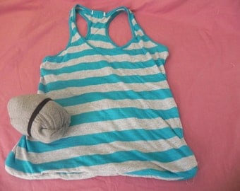 Upcycle Turquoise and White Striped Bag