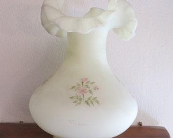 Vintage Fenton flower vase hand painted