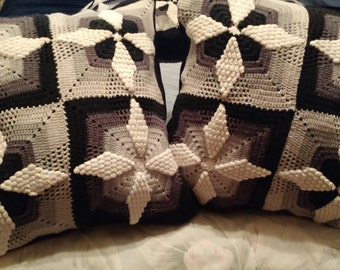 Crochet Vintage Up-Cycled Pillows Pair P1101 & P1102