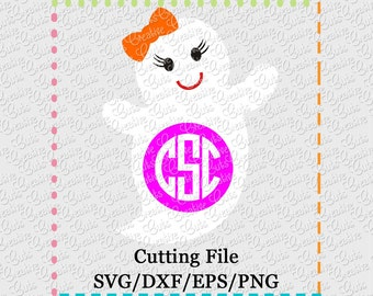 Girl Ghost Monogram Cutting File SVG, EPS, DXF, ghost monogram svg, ghost svg, ghost cutting file, monogram svg, halloween svg halloween cut