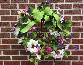 Full of Flowers Wreath - Bright Floral Wreath - Ribbon Wreath