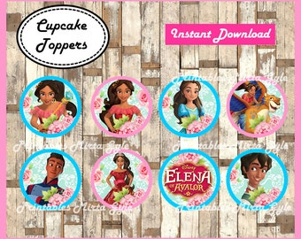 Elena of Avalor party toppers, printable Elena of Avalor toppers, Elena of Avalor cupcakes toppers