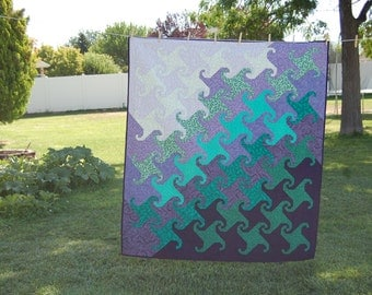 Purple and Green Monkey Wrench Quilt