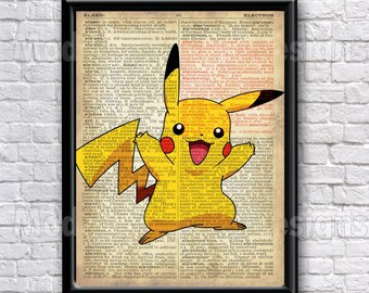 Pikachu Typography Text Art Word Art Pokemon, 5x7 8x10 16x12
