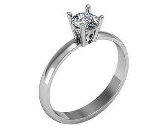14K Solid Gold Ring, 0,40ct Diamond Ring, Diamond Engagement Ring, Modern Diamond Ring, Dainty Engagemet Ring, Bridal Ring, Bridal Jewelry